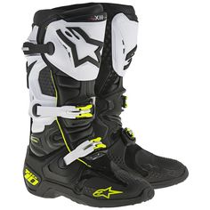 The Alpinestars Tech-10 Boots feature a lightweight upper which combines full-grain leather with lightweight microfiber and impact and abrasion resistant TPU shell. Innovative, evolutionary TPU shin-plate construction for greater range of fitment features a reinforced VELCRO® brand closures closure for comfortable, highly customized closure. The shin zone incorporates TPU blade system engineered to prevent frontal hyperextension and provides greater flex control. Evolutionary design for…