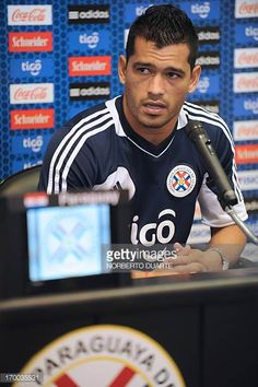 Paraguayan national team footballer Miguel Samudio speaks during a press conference in Ypane near Asuncion on June 6 2013 Paraguay will face Chile on...