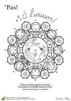 Coloring on the theme of peace, mandala unison - Hugolescargot.com