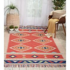 Nourison Baja Moroccan Red/Beige Area Rug - x Square (Red/Beige - x Square) (Acrylic, Ikat) Rug Size Guide, Orange Area Rug, Area Rug Sizes, Fashion Room, Online Home Decor Stores, Online Shopping, Beige Area Rugs, Colorful Rugs, Hand Weaving