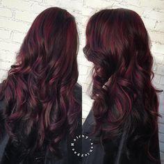 Long Black Hair With Burgundy Highlights