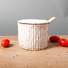 bowl with lid white danish speckled grooved by EeliArtStudio