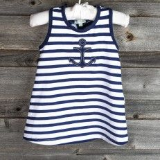 Navy and White Dress with Anchor Applique (try red textile paint, sequins or glitter paint?)