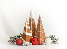 Faux Gingerbread Trees Set of 3  Holiday Decor  by DaydreamHunter
