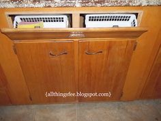 "Under the Sink ""Drawer"" Hideaway! How to turn the false drawer in front of the sink into functional storage space. Really easy and cheap to do. Gotta put it on the to-do list. Small Kitchen Storage, Kitchen Drawers, Kitchen Organization, Kitchen Cabinets, Bathroom Storage, Kitchen Sink, Organization Ideas, Rv Storage, Storage Spaces"