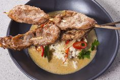 Grilled Pork with Noodles and Coconut Broth