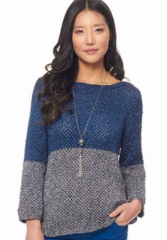 Right on trend in a color-blocked metallic sheen, knit this sassy sweater in four pieces and seam it together in a cinch. Shown in Patons Metallic. #knitting