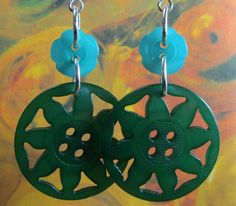 Your place to buy and sell all things handmade Bold Fashion, Star Fashion, Statement Earrings, Dangle Earrings, Fashion Earrings, Fashion Jewelry, Teal Flowers, Button Flowers, Designer Earrings
