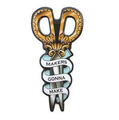 Makers Gonna Make Scissors Brooch