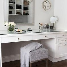 White Built In Makeup Vanity with Glass Pulls