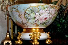 Limoges Romantic Rose and Gold Inspired Hand Painted Exquisite Punch Bowl with Matching Blush Colored Plinth with Gold Paw Feet
