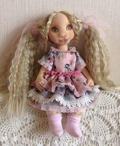 Купить Кукла Ксюшенька, коллекционная, текстильная, с объемным личиком - комбинированный, кукла текстильная, кукла коллекционнная