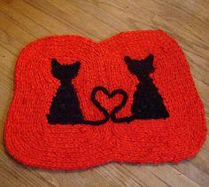 Love Cats Crochet Rug by recyclingartistemily, via Flickr