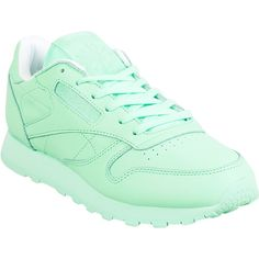 Reebok Classic Leather X Spirit Women's Athletic Sneaker (€71) ❤ liked on Polyvore featuring shoes, sneakers, green, green shoes, leather sneakers, genuine leather shoes, leather footwear and leather trainers