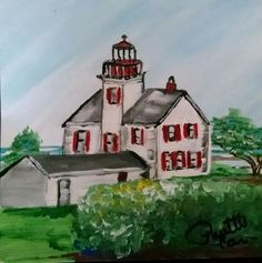 """Yaquina Bay Lighthouse -I added """"30 Paintings in 30 Days, January 2015 - Paulette C"""" to an #inlinkz linkup!https://www.facebook.com/PauletteCarrArtist/photos/a.901546836531593.1073741835.425248420828106/902558786430398/?type=3&theater"""