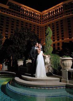 wedding couple near pool at bellagio las vegas nevada #GOWSRedesign