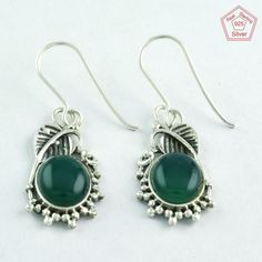 LEAFY DESIGN !! GREEN ONYX STONE 925 SOLID STERLING SILVER EARRINGS E5281 #SilvexImagesIndiaPvtLtd #DropDangle