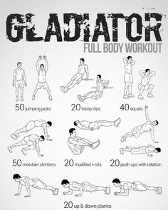 Gladiator Workout This Site Has 100 Amazing No Equipment Workouts Free Phone And Tablet Also A Paperback Copy You Can recipes mashed easy Best Full Body Workout Routine Without Equipment Full Body Workouts, Fitness Workouts, Weight Training Workouts, Gym Workout Tips, No Equipment Workout, At Home Workouts, Fitness Motivation, Fitness Tips, Quick Workouts