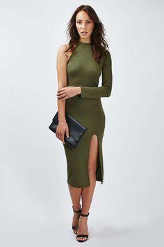 One Shoulder Ribbed Midi Dress - Topshop