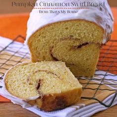 Delicious pumpkin bread with a cinnamon filling and an almond cream cheese frosting.