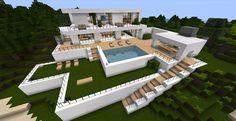 House with pool - minecraft Modern Minecraft Houses, Minecraft House Plans, Minecraft Mansion, Minecraft House Tutorials, Minecraft Room, Minecraft House Designs, Minecraft Tutorial, Minecraft Architecture, Minecraft Blueprints