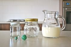 Making butter  Jars and jug of cream  Empty clean jars with tight fitting lids, clean marbles and full cream at room temperature.