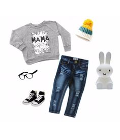 """Fun & stylish outfit inspiration with our """"Ain't no mama like the one I got"""" raglan + rad essentials to go with it! Double tap pic for outfit deets Shop www.stellar-seven.com #stellarseven #aintnomamaliketheoneigot #ootd #babyootd #kidsootd #ig_kids #instagram_kids #instakids"""