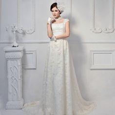 Elegant Short Sleeve with Natural waist wedding dress