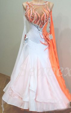 Women Smooth Standard Waltz Tango Dance Dress US 8 UK 10 White Orange Beads | eBay