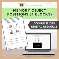 This digitally interactive resource is designed for use with Google Slides. This resource contains 10 slides in total. Answer sheets are included.The student must remember the positions of each of the pictures in the blocks, in order to answer the questions once the pictures are covered up.