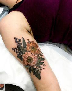 Icelandic Poppies, lavender, & bluegrass tattoo by at in Sydney, Australia Hand Tattoos, Flower Tattoos, Arm Tattoo, Body Art Tattoos, Sleeve Tattoos, Music Tattoos, Tatoos, Buddha Tattoos, Samoan Tattoo