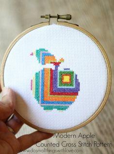 Modern Apple Counted Cross Stitch Pattern - Small Things