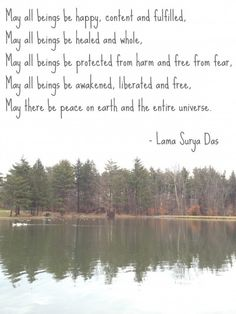 Loving kindness meditation, Lama Surya Das. This is one of my favourite types of meditations. It is especially useful to someone who feels the pain of others in the world deeply, which can sometimes lead to a feeling of helplessness and pain. If there is a particular person in your life you are worrying about, you can send the meditation specifically to them. This meditation brings me peace.