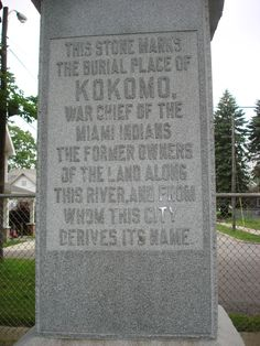 Great Indian Chief. Chief Kokomo of the Miami Nation from which this city derived its name.