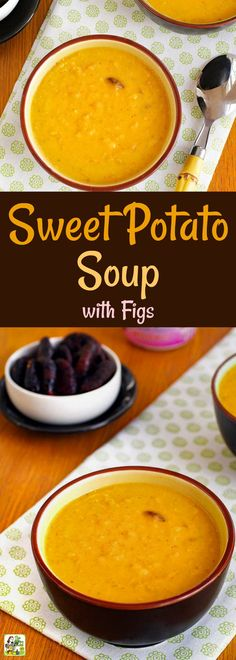 Pair this healthy, homemade sweet potato soup with a sandwich or salad for an easy weeknight dinner. This curry sweet potato soup recipe uses Greek yogurt and a secret ingredient – figs! (Don't like curry? Use Herbes de Provence instead.) This vegetarian sweet potato soup is perfect for Meatless Monday, too! #sweetpotatoes #soup #vegetarian #meatlessmonday #yogurt #figs #glutenfree #healthy #healthyrecipe #healthysoup #homemadesoup