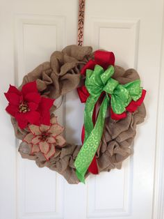 Deck the door with an 18 inch burlap wreath with easy to remove holiday bow and decor!  Buy this on Etsy at SC Door Decor.