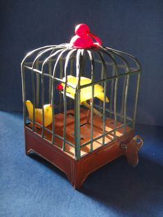 Vintage Wind Up Bird Cage Toy by greencarbon07 on Etsy, $40.00