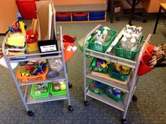 Here are our portable creative trolleys. Just need to add paint to the old soap dispensers. Our Reception children can then move the resources wherever they need them!