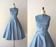 """1950s dress / vintage 50s dress / Dream Beyond Time"" - And once more, the colour... and I love that criss-cross in the front and the lace above"