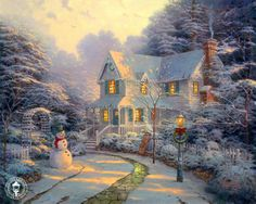 I have always loved the elegance of Thomas Kincade and this picture is the embodiment of my dream cottage...quiet and serene with equally  enjoyable surroundings