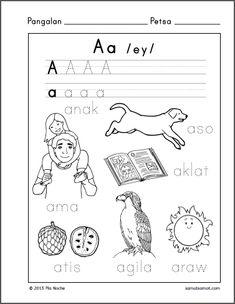 Filipino Alphabet and Filipino Word Tracing Sheets - Samut-samot English Worksheets For Kids, Reading Worksheets, Preschool Learning, Kindergarten Worksheets, Preschool Activities, Teaching Kids, Kids Worksheets, Printable Worksheets, Early Learning