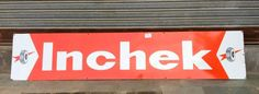 Vintage old 72'' Inchek Tyre Oil Gas Station Enamel Porcelain Sign Board  #Inchek
