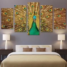 Peacock Canvas, Peacock Painting, Peacock Art, Peacock Feathers, Modern Canvas Art, Large Canvas Art, Canvas Art Prints, Canvas Wall Art, Peacock Wall Decor