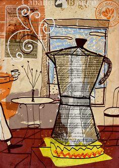 Ilustration for coffee's company Cafés Caballo Blanco