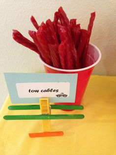 Blaze and the monster machines party food idea: Liquorice as tow cables.