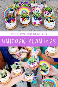 Unicorn Planters Earth Day Activity For Kids. Free printable template.
