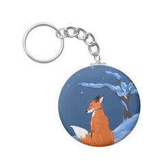 Winter Night Fox Keychain #fox #christmas #snow #animals #moon