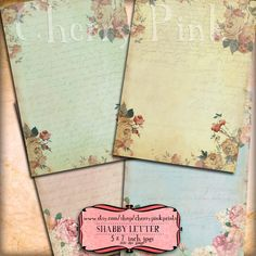 SHABBY LETTER collage sheet, vintage scrapbook 4 designs, supplies for scrapbooking collage digital download
