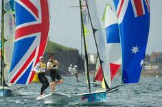 Iain Jensen and Nathan Outteridge (left) sailing for their gold medal in the Men's 49er sailing event.  Photo by Jason South