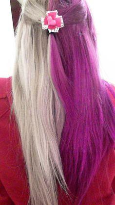 bow, colored hair, dyed hair, girl, grey hair